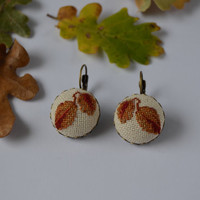 Earrings Handmade Autumn Leaves Embroidery, jewelry, cotton, cross stitch earrings, autumn gift