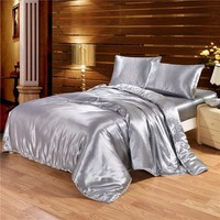 Cool Solid Color Satin Faux Silk Grey Bedding set Duvet Cover Set Silky Bed cover 2/3/4PCS US Twin Queen King UK Single Double KingAT_93_12