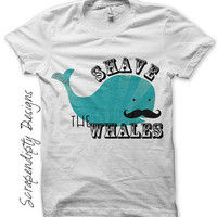 Iron on Whale Shirt PDF - Musatche Iron on Transfer / Kids Boys Funny T shirt / Men Tshirt Shave the Whales / Hipster Baby One Pieces IT225