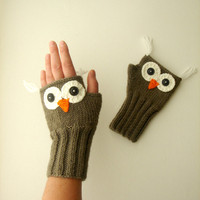 Owl Hand Knit / Fingerless Gloves in fawn - colored/ Soil Color / Winter Fashion 2012- 2013 / Size M - S