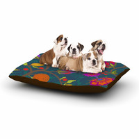 """Laura Nicholson """"Flora Exotica"""" Teal Floral Dog Bed"""