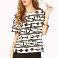 FOREVER 21 Boxy Tribal Print Top Cream/Black Small