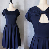 HOLLY GOLIGHTLY NAVY - Navy blue dress with pockets // pleated skirt // back cut out // bridesmaid dress // vintage inspired // day // party