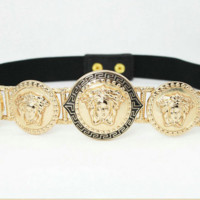 Versace Metal Medusa Beauty Elasticated Belt Lion Head Belt