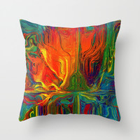 The Rose (Orange) Throw Pillow by Amanda Moore - Fractal Insanity