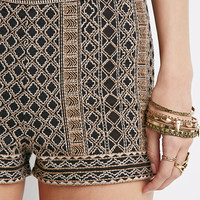 Abstract-Embroidered Flat Front Shorts