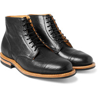 Handmade men black lace up ankle high boot, Men black genuine leather boot