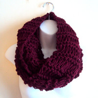 SALE! Unisex Knit Chunky Cowl Long Scarf Burgundy Neck Warmer Women Men Clothing Valentine's Day Gift Winter Accessories