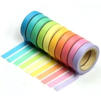 Umiwe(TM) Adhesive Stickers Paper Rainbow Tape Stationery School Gift (Set of 10, Assorted Color) With Umiwe Accessory