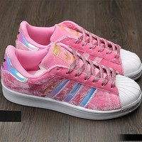 Adidas Superstar Fashion Winter Suede Pink Sneakers
