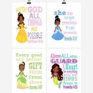 African American Princess Christian Nursery Decor Set of 4 Prints - Ariel, Belle, Tiana and Cinderella