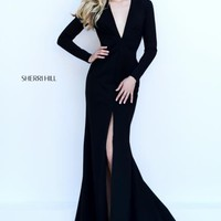Sherri Hill V Neckline Fitted Evening Gown 50309