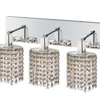 Wiatt - Wall Fixture Oblong Canopy with Ellipse Pendant (3 Light Contemporary Crystal Vanity Fixture) - 1091W-O-E