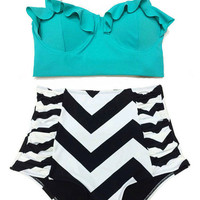 Mint Midkini Top and Chevron Highwaisted High Waisted Waist rise High-Waist Swimsuit Swimwear Bikini Bathingsuit Bathing Swim suit dress S M