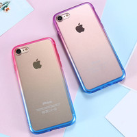 For Apple iPhone 7 Case Ultra Thin Gradient Colorful Soft TPU Frame Crystal Clear Acrylic Back Phone Cases For iPhone 7 7 Plus