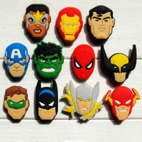 Single Sale 1pc Avengers PVC Shoe Charms Shoe accessories Shoe decoration Shoe Buckles Accessories Fit Bands Bracelets Croc JIBZ