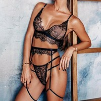 Sexy Lace Lingerie Women Underwear 3 Piece Set See Through Bodycon Bra Patry Set Black Lingeries Bodydoll Sexy Sets