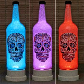 Day of the Dead Skull Remote Control Color Change 1 Liter Bottle Lamp Halloween Decor