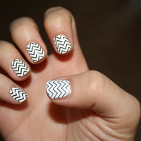 Black Chevron Vinyl Nail Decals by LongChanged on Etsy