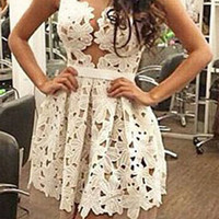 Cream Lace Skater Dress