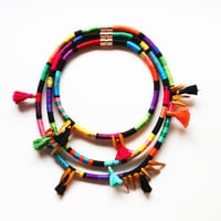 ZULU - African Inspired Necklace Multi Strand Necklace Thread Wrapped Rope Necklace Tassel Mother of Pearl Color Block Tribal Jewelry