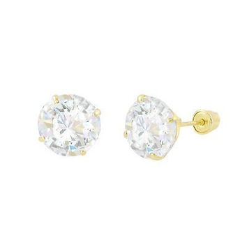 Round CZ Studs Screwback Earrings Solid 14k Yellow Gold Clear BASKET Set