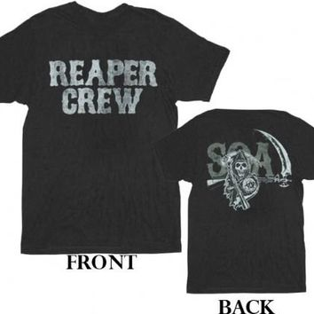 Sons of Anarchy Reaper Crew Layered SOA 2-Sided Black Adult T-shirt Tee - Sons of Anarchy - | TV Store Online