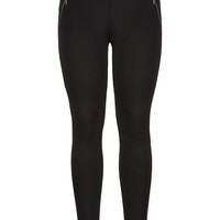 The Skinny Knit Pant With Zip Pockets - Black