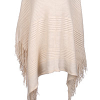 Textured Cable Knit Pullover Poncho W/ Fringe Trim