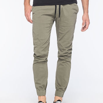 Micros Solid Mens Jogger Pants Olive  In Sizes