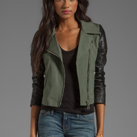 DOMA Gabardine Lamb Leather Jacket in Military Green from REVOLVEclothing.com