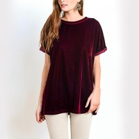 on the road velvet top - burgundy