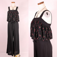 Vintage 70s - Black & Magenta Pink Puffy Pleated Bodice Sleeveless Floral Wide Leg Palazzo Pant Suit One Piece Jumpsuit - Boho Glam