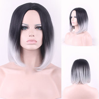 Women Sexy Heat Resistant Wig Natural Black Gradient Gray Ombre Synthetic Fiber Short Straight Front Wigs