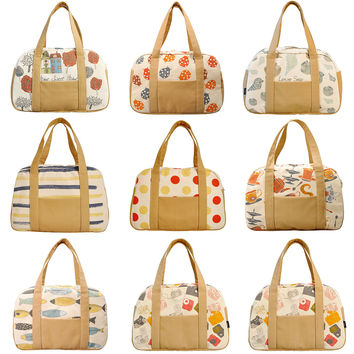 Women's Vintage Seamless Pattern Beige Printed Canvas Duffel Travel Bags WAS_19