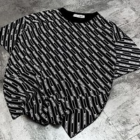 Balenciaga family striped black T-shirt with loose logo design black