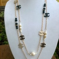 """Classic 70"""" Designer Pearl & Crystal Charm Opera Necklace"""