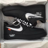 NIKE OFF WHITE Force 1 Complex Con AF1  Silver hook shoes