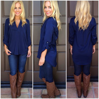 Fall In Place Tunic Blouse - NAVY