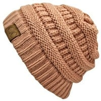 Light Rose Pink Thick Slouchy Knit Oversized Beanie Cap Hat: Clothing