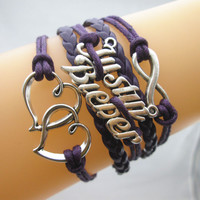 Justin Bieber Bracelet Inifinity Double Hearts, Infinity Charms Leather Braided Bracelet