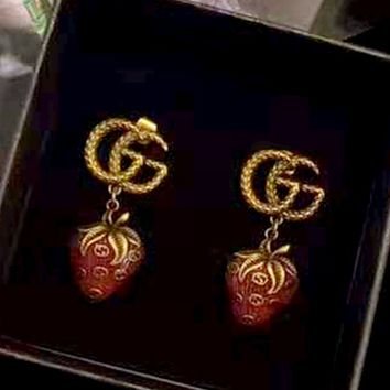 GUCCI Double G Embossed Strawberry Logo Stud Earrings