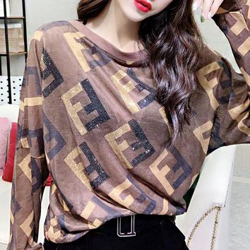 Fendi New fashion diamond more letter print long sleeve top women Coffee