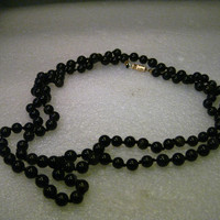 """Vintage 40"""" Black Quartz or Jet Beaded Necklace, 7mm, Knotted Between Beads"""