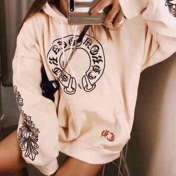 """""""Chrome Hearts"""" Women Casual Personality Lips Horseshoe Letter Print Loose Long Sleeve Hooded Sweater Tops"""