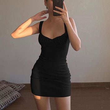 Sexy Skinny Bralette With Bow Low Cut Slim Dress  Women Summer Fashion Sleeveless Backless Dress Female Party Club