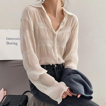 New 2021 Spring Vintage Elegant Women Chiffon Blouses Casual Long Sleeve Blusas Femme Turn-down Collar Solid Shirts Female Tops