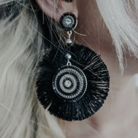 Mysterious Heart Earrings: Black/Multi