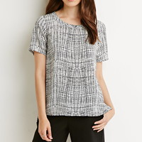 Abstract Grid Print Top