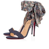 Christian Louboutin Cl Sandale Du Desert Version Blue Denim/satin Paisley Sandals 3180169cn65 - Sale
